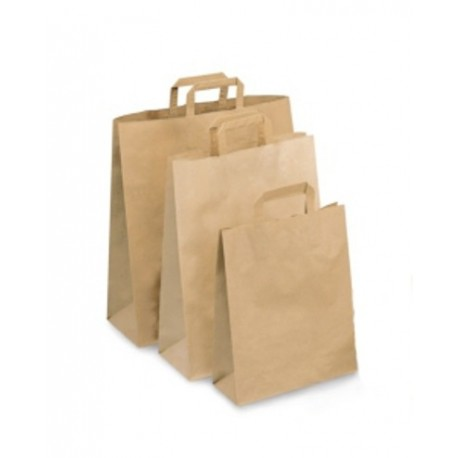 """Sacs """"Kraft brun"""" 22 x 11 x 28 cm avec poignées plates en papier"""