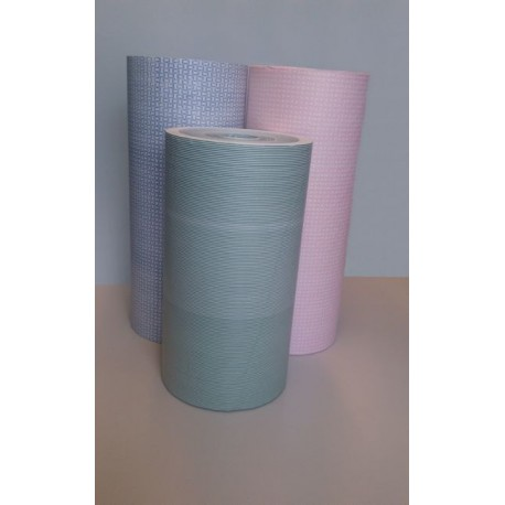 Bobine kraft blanchi ligné rose / vert ou bleu